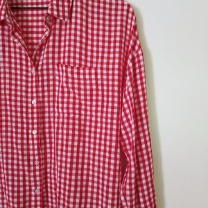 Pink Rose Red and White Gingham Blouse
